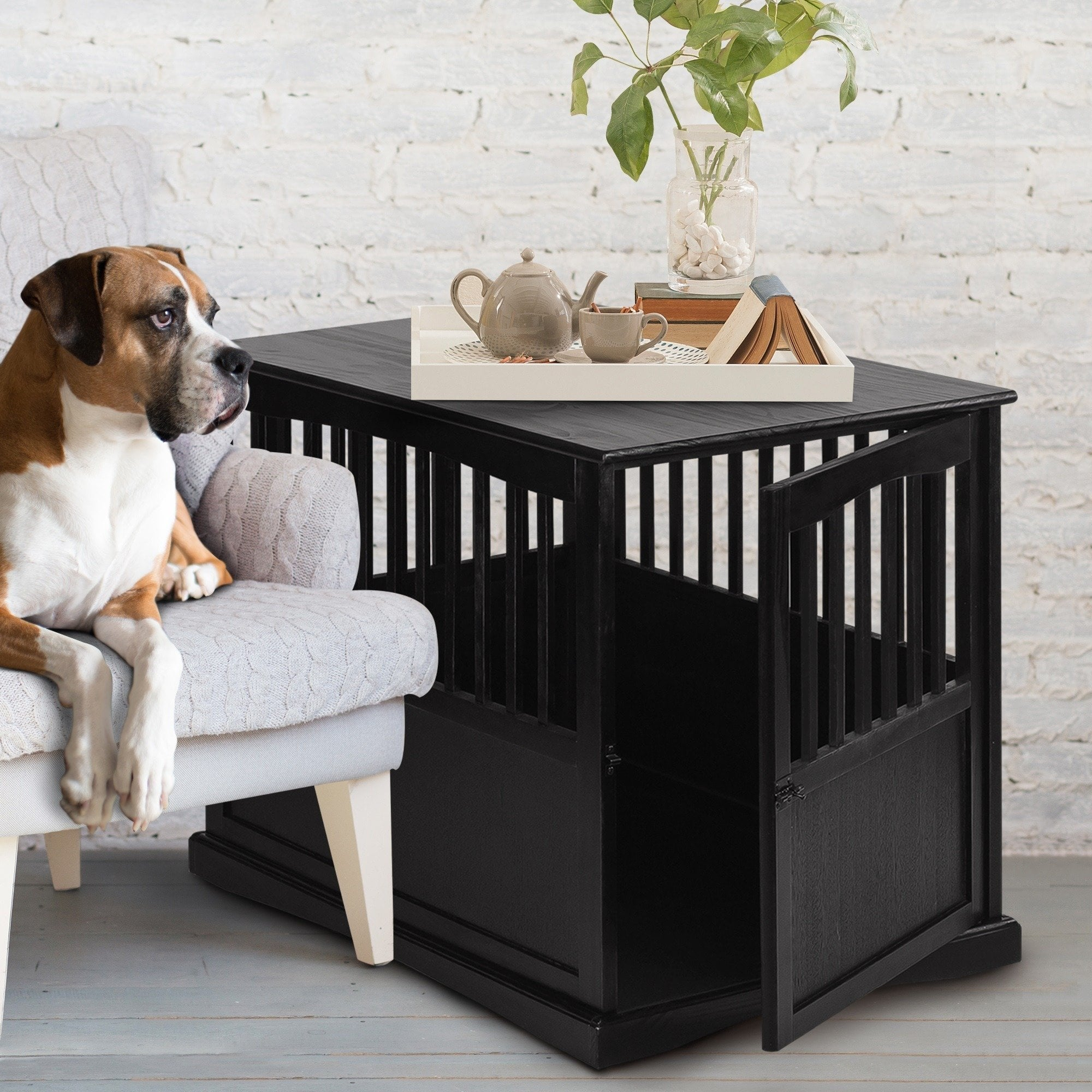 wooden pet crate end table with lockable door ships and narrow lamp round decorating ideas front entry console aspen wood small industrial powell loft desk glass top for coffee
