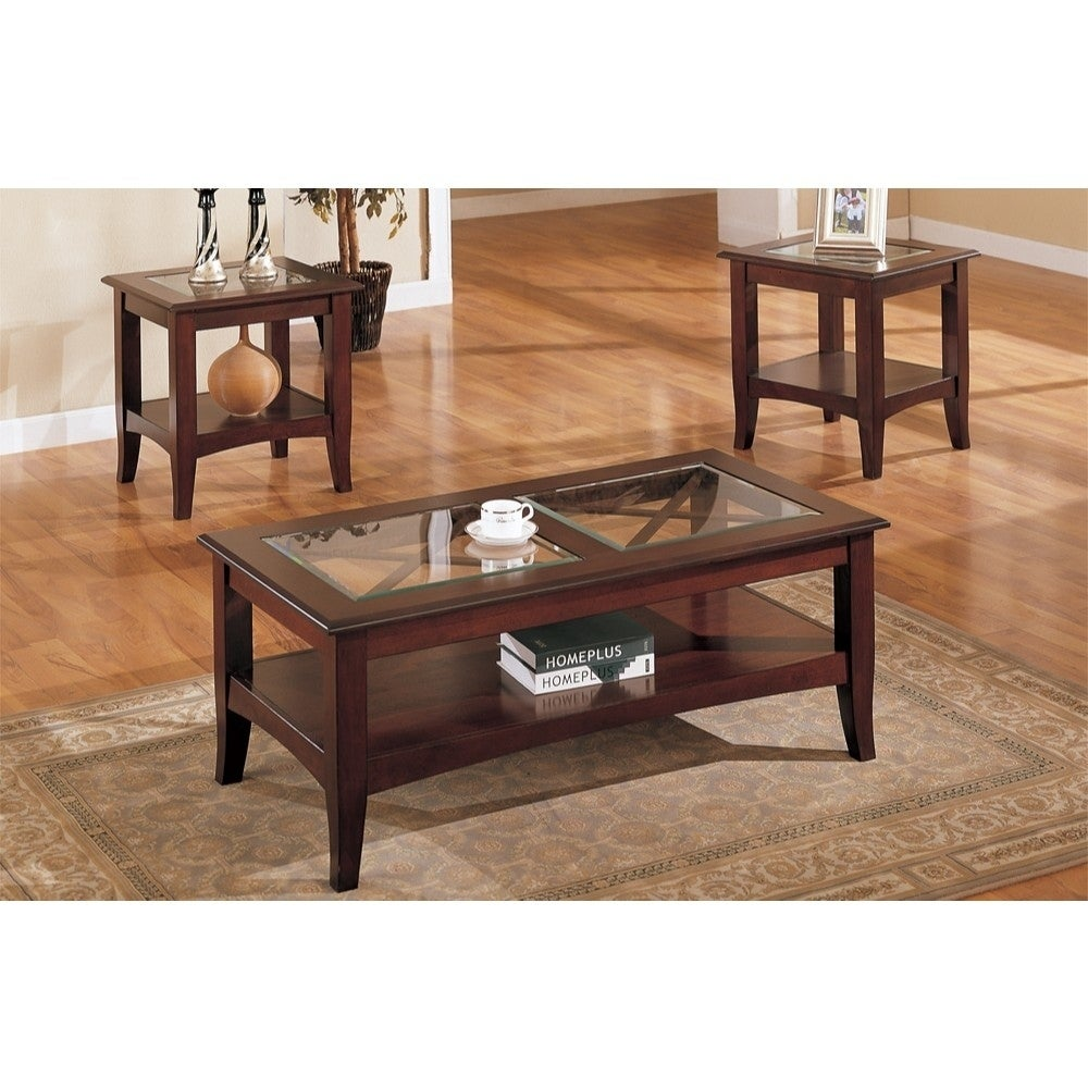 wooden piece table set with glass top dark cherry brown wood end tables free shipping today black leather sofa urban ladder whalen kitchen shelf laura ashley childrens uttermost