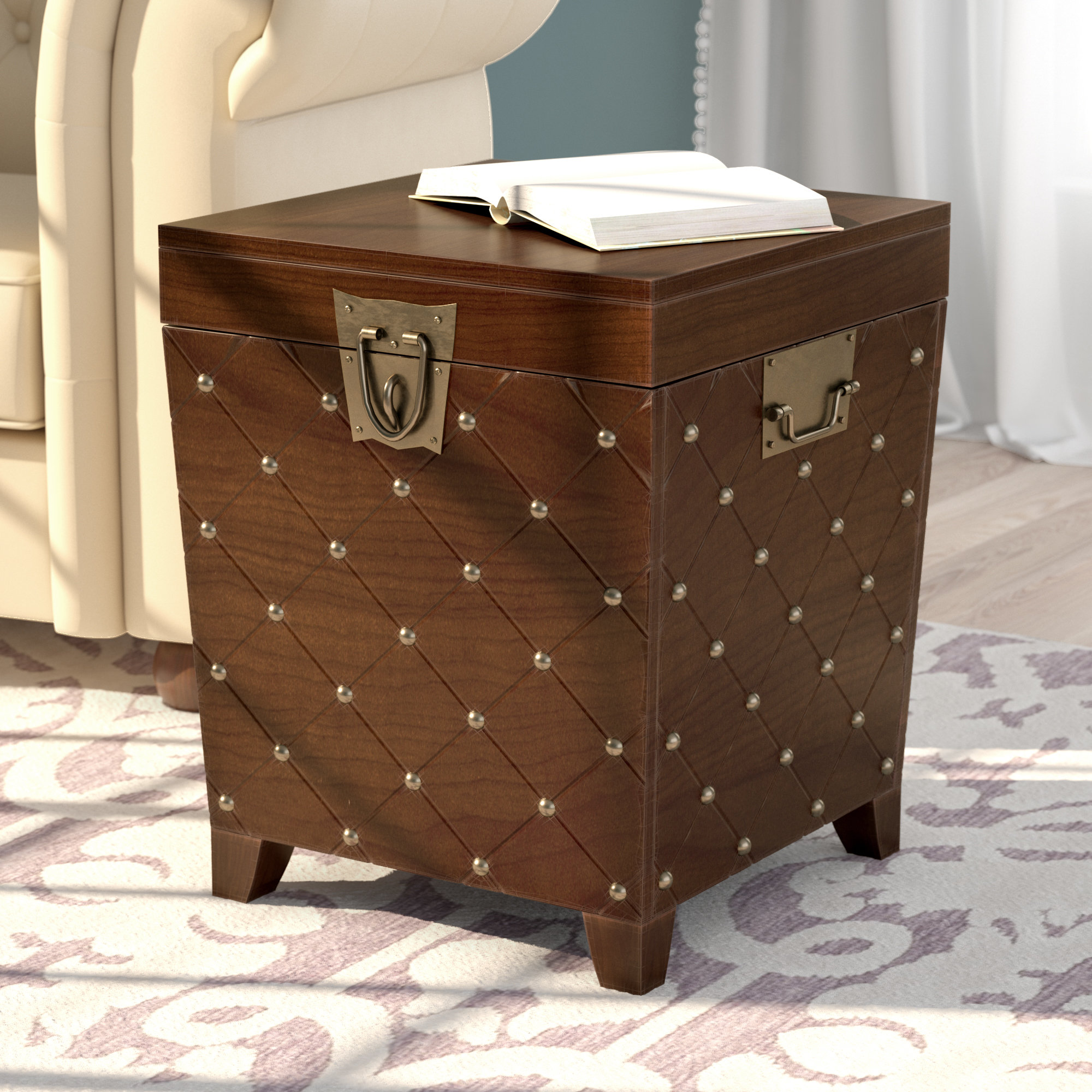 world menagerie hassania nailhead trunk end table reviews our sites bedside tables vancouver proximity grey leather coffee antique stackable under furniture row tulsa couch eating