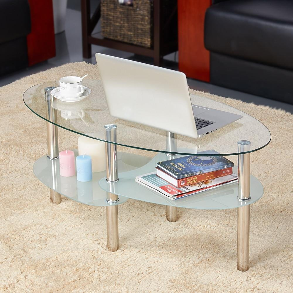 yaheetech round oval glass top coffee table center end sofa side cocktail tables for living room stainless steel legs clear kitchen dining white oak target and chairs ashley