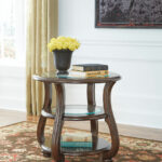 yexenburg dark brown round end table furniture land columbus tables strata twist lane warranty patio cocktail square glass gold coffee leon kingston bedroom design buffet behind 150x150