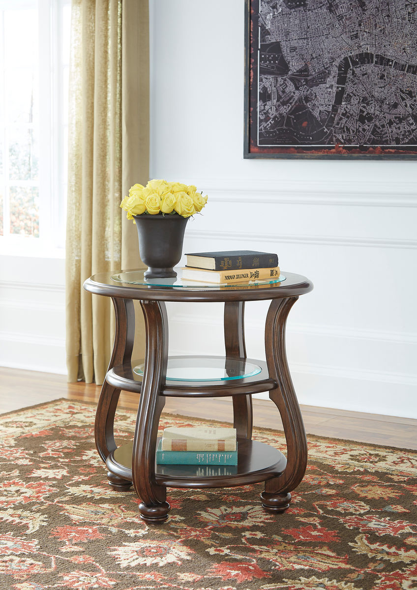 yexenburg dark brown round end table furniture land columbus tables strata twist lane warranty patio cocktail square glass gold coffee leon kingston bedroom design buffet behind