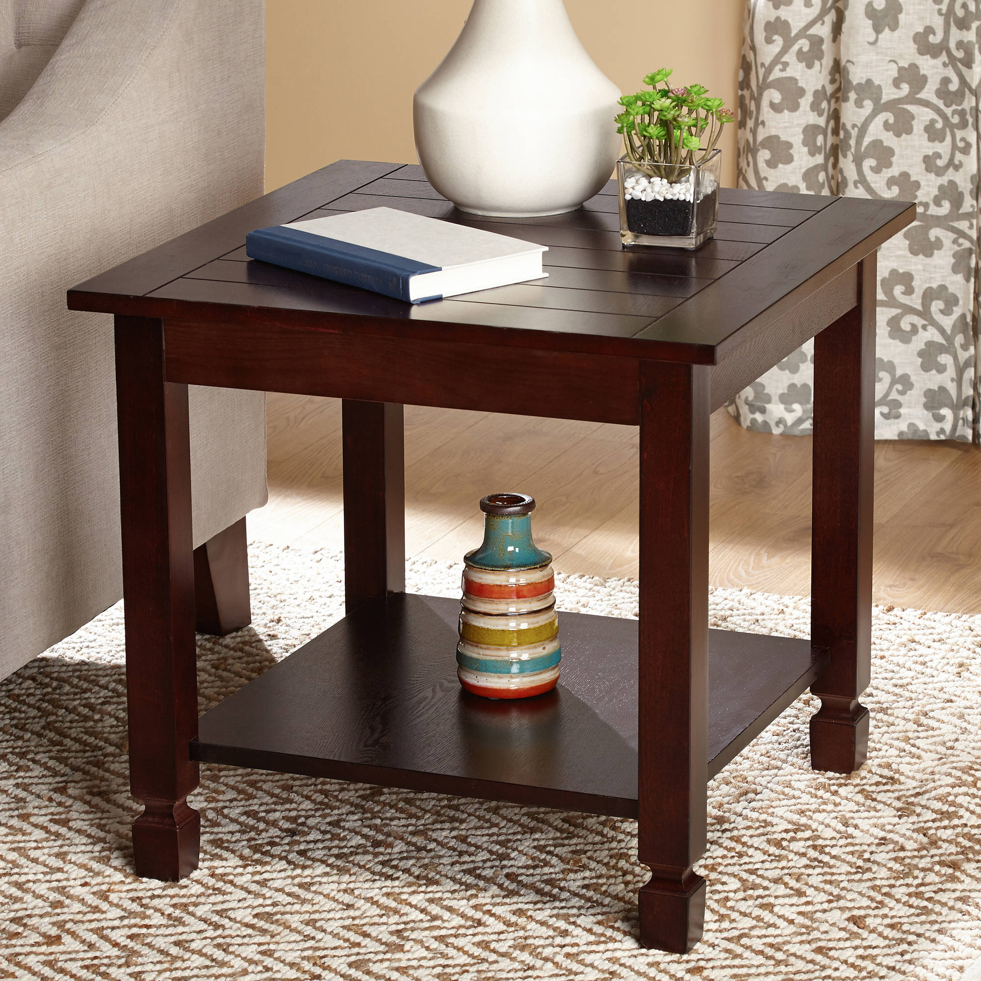 zenith end table espresso wood tables black oval coffee set marble and silver what color goes with dark brown furniture kmart off coupon white gloss glass side metal console