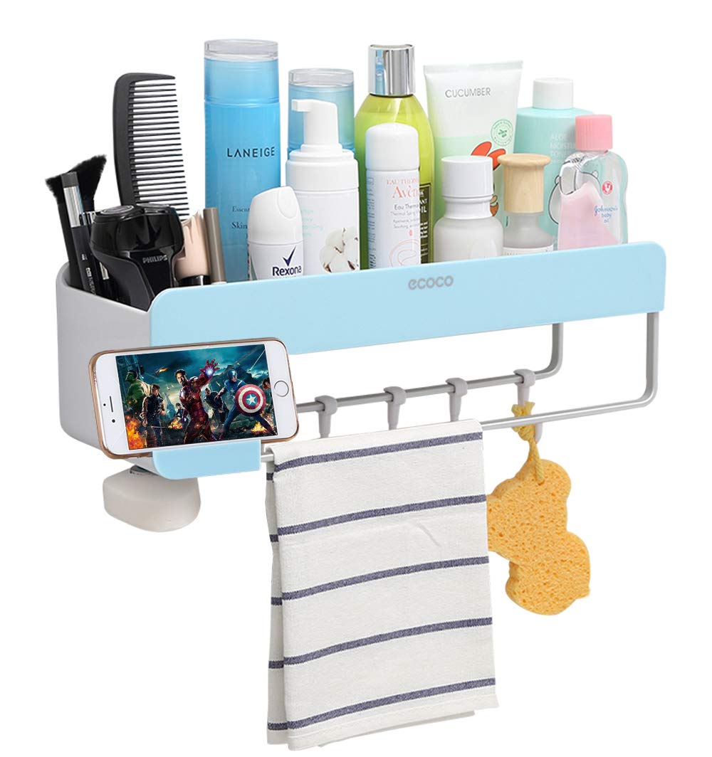 adhesive bathroom shelf storage organizer wall mounted floating makeup shelves ihebe corner suction shower organizers shampoo caddy rack arc bracket hafele countertop supports