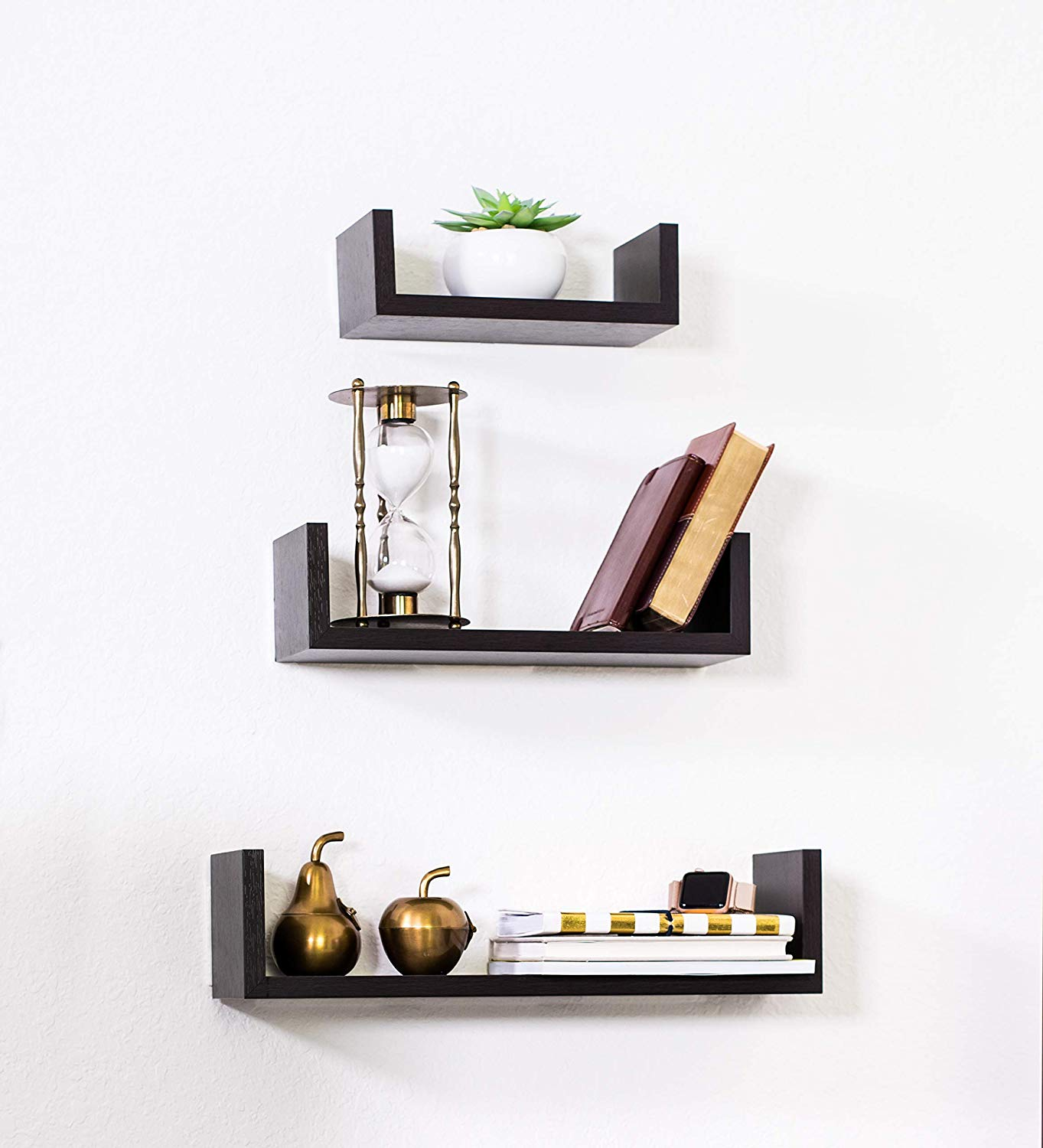 adorn home essentials floating shelves set with espresso modern shape and durable design simple hanging kit included kitchen diy shoe shelf plans brackets perth vinyl tile