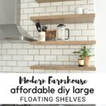 affordable diy large floating shelves kitchen open for the one room challenge week square storage rack shelf bookcase ideas built living standard size closet organizer cabinets 150x150