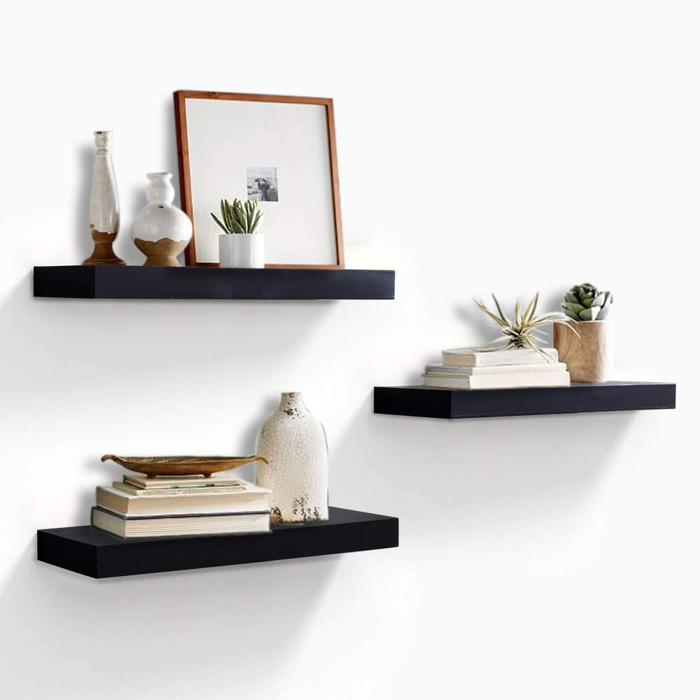 ahdecor black floating wall mounted shelves set shelf display ledge wide panel for bedroom office kitchen living room deep home box storage unit ikea rolling vinyl tile short