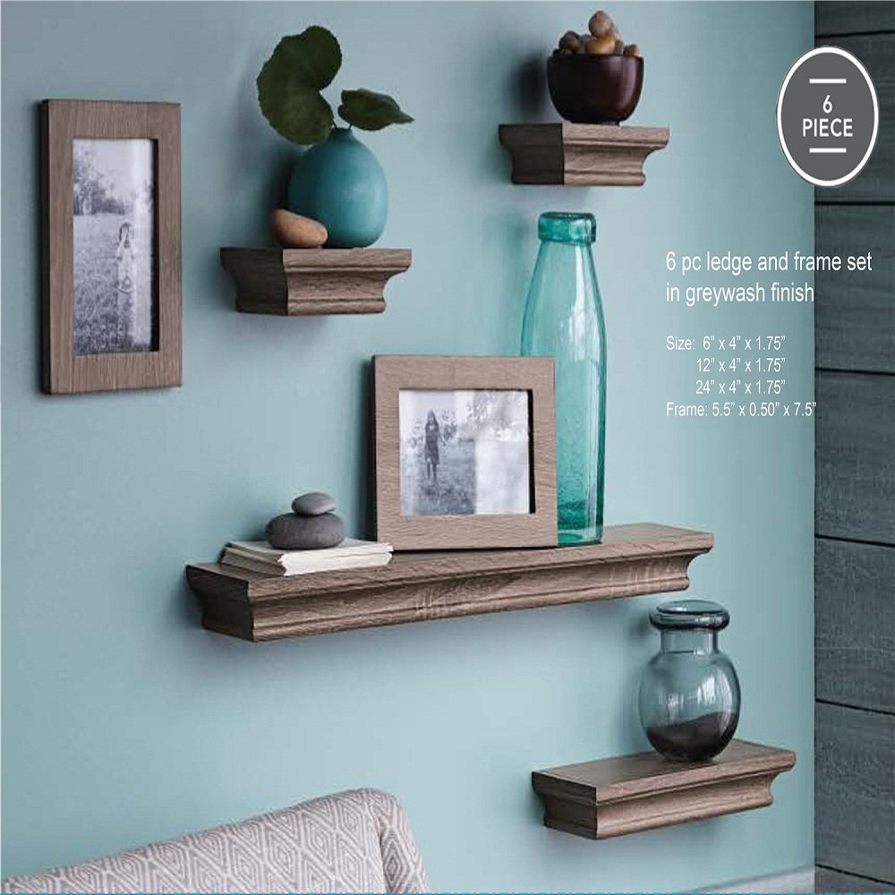 ahdecor floating shelves and frame set grey wash finish inches deep home kitchen foot long wall shelf kmart box bookshelf designs diy extra large corner artificial fireplaces rod