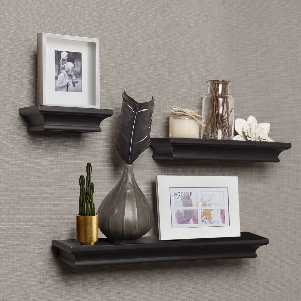 ahdecor floating shelves black ledge wall shelf for deep home decor with set pcs kitchen mitre best led lights ceiling open corner bookshelf freestanding island seating white