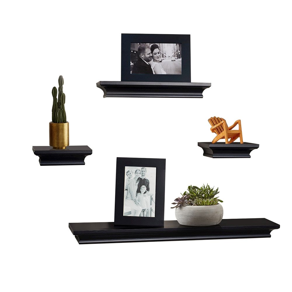 ahdecor floating shelves black ledge wall shelf super and ture frames sturdy easy install inclouded inches deep set pcs home mobile kitchen workbench ikea double desk corner