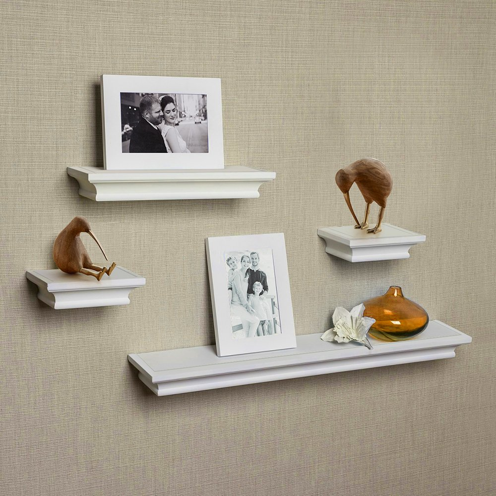 ahdecor floating shelves white ledge wall shelf super ture frames sturdy easy install inclouded inches deep set pcs home can you hang tures drywall ribba from ikea garage