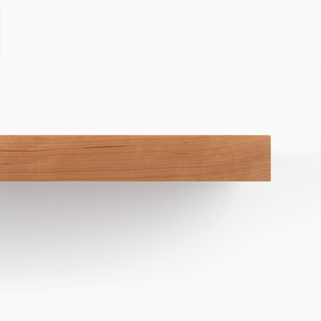 aksel nearly cherry floating shelf system shelfology front detail shelves finish edge our satin finished solid clothes coat rack home office desk best garage racks white from ikea