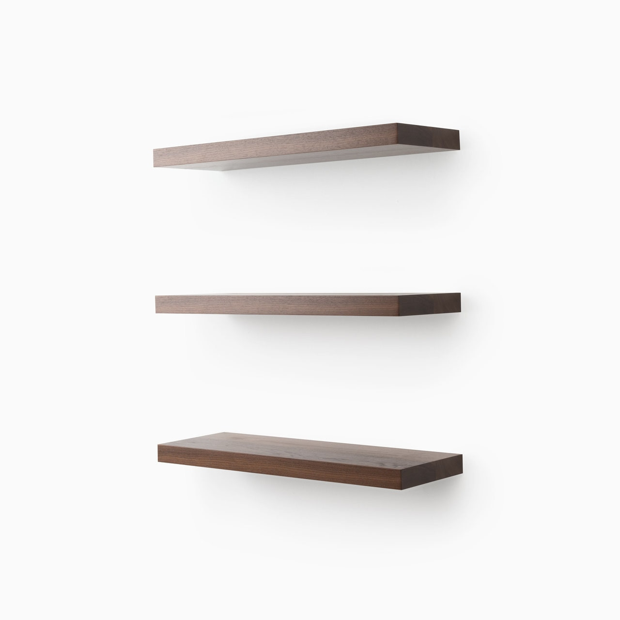 aksel nearly walnut floating shelf system shelfology three quarter shelves finish design your wall with our easy install black shelving unit installing drywall reclaimed wood