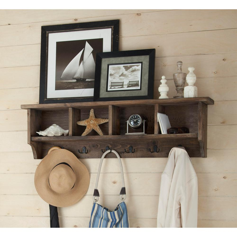 alaterre furniture pomona metal and reclaimed wood entryway rustic natural decorative shelving accessories coat rack with floating shelf hook storage cubbies the accent shelves