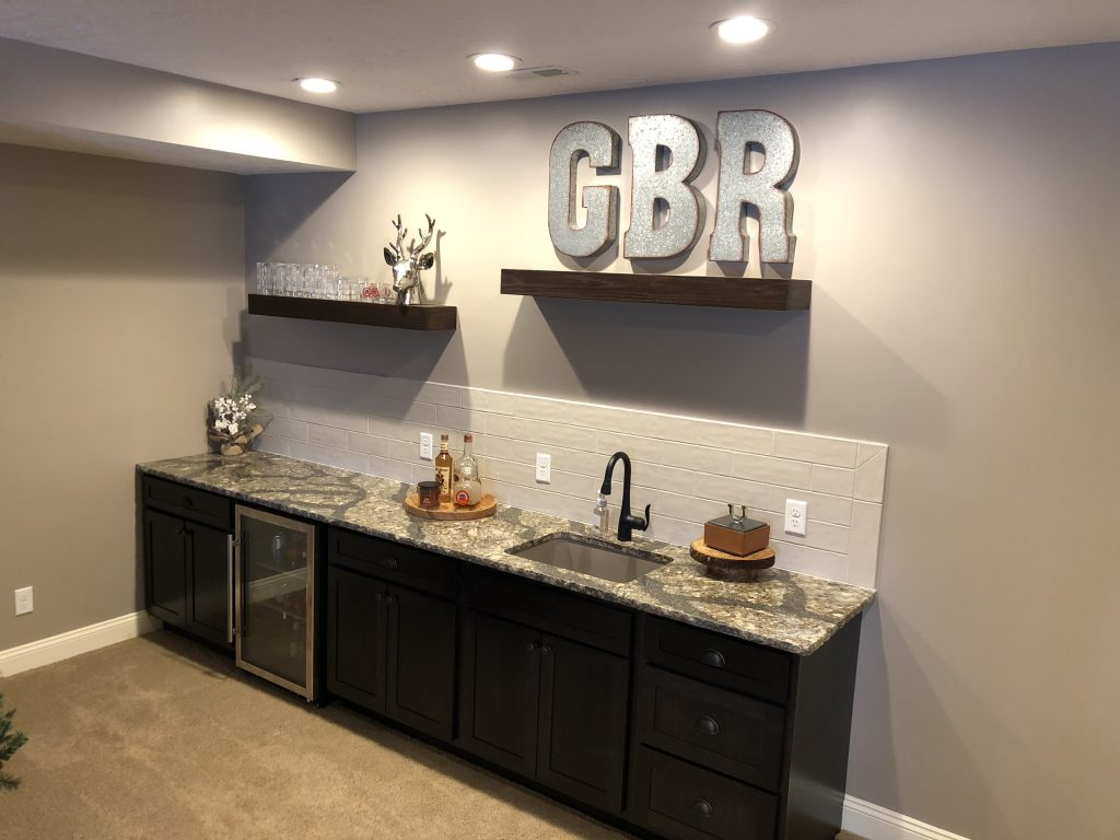 andrews wet bar dobish construction inc img floating shelves stunning featuring cambria quartz countertops with chiseled edge ragno glossy brick tile backsplash and custom built