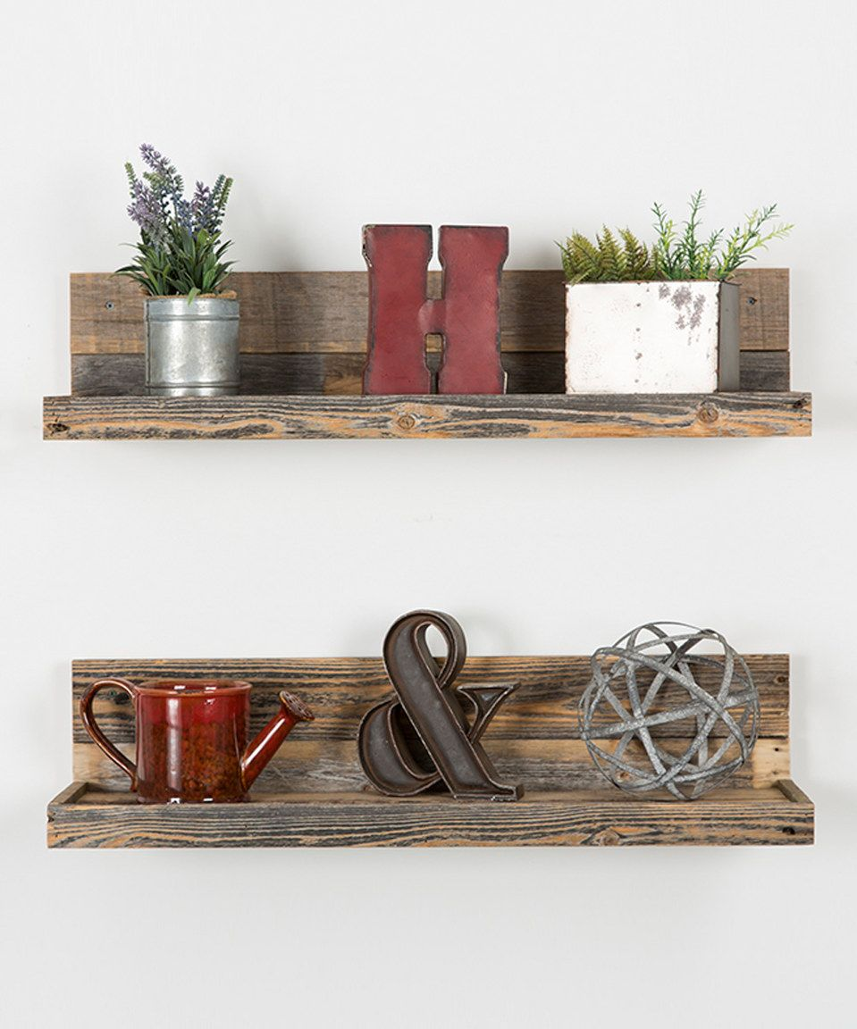 another great find zulily barnwood floating shelves set designs shelf two delhutson zulilyfinds vintage cast iron brackets non screw wall corner open bookcase book ledge metal