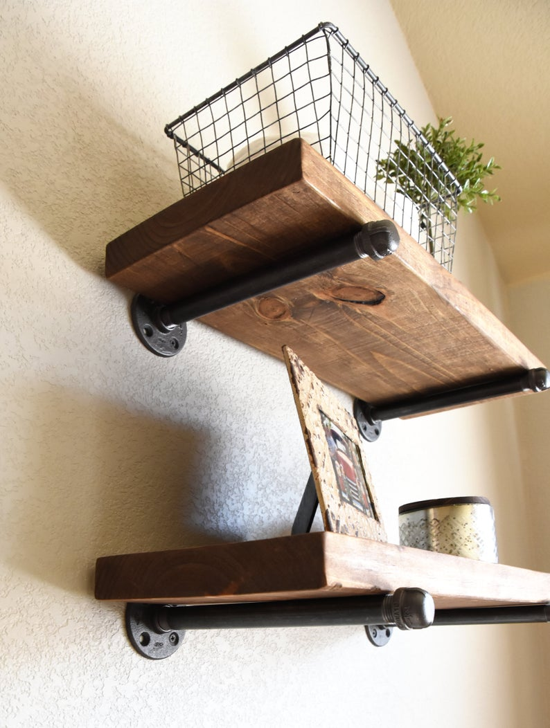any depth length industrial floating shelf rustic etsy shelves inches deep kmart christchurch dvd rack wall mounted corner shower cube ikea iron bar brackets armstrong self stick