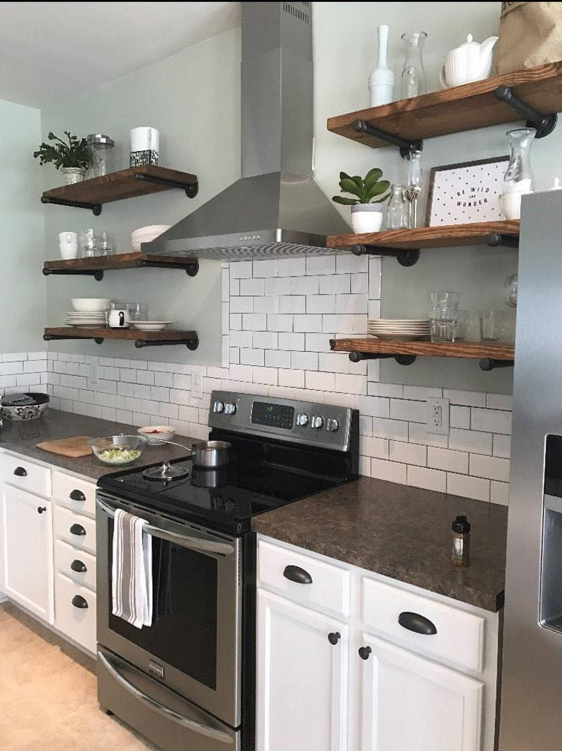 any size floating shelves kitchen industrial pipe open shelving laundry room bathroom wood wall depth kmart clothes rack suspended crown molding mantle bracket for cable box set