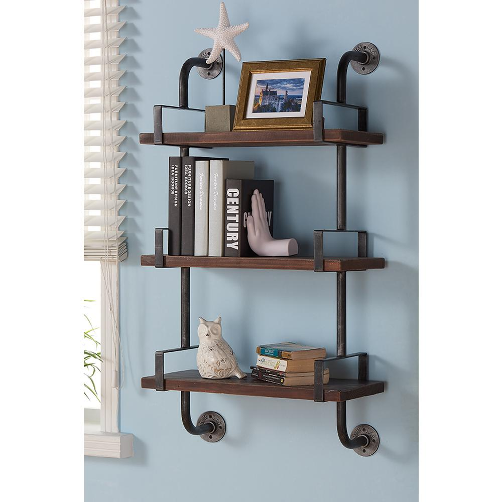 armen living silver booker industrial walnut wood floating gray decorative shelving accessories wall shelves shelf the strong supports metal brackets for glass single white fermod