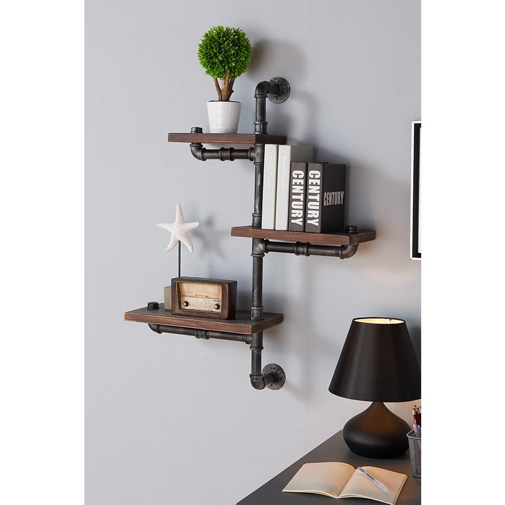 armen living silver orton industrial walnut wood floating gray decorative shelving accessories wall shelves shelf the ikea diy secret compartment creative bracket ideas metal