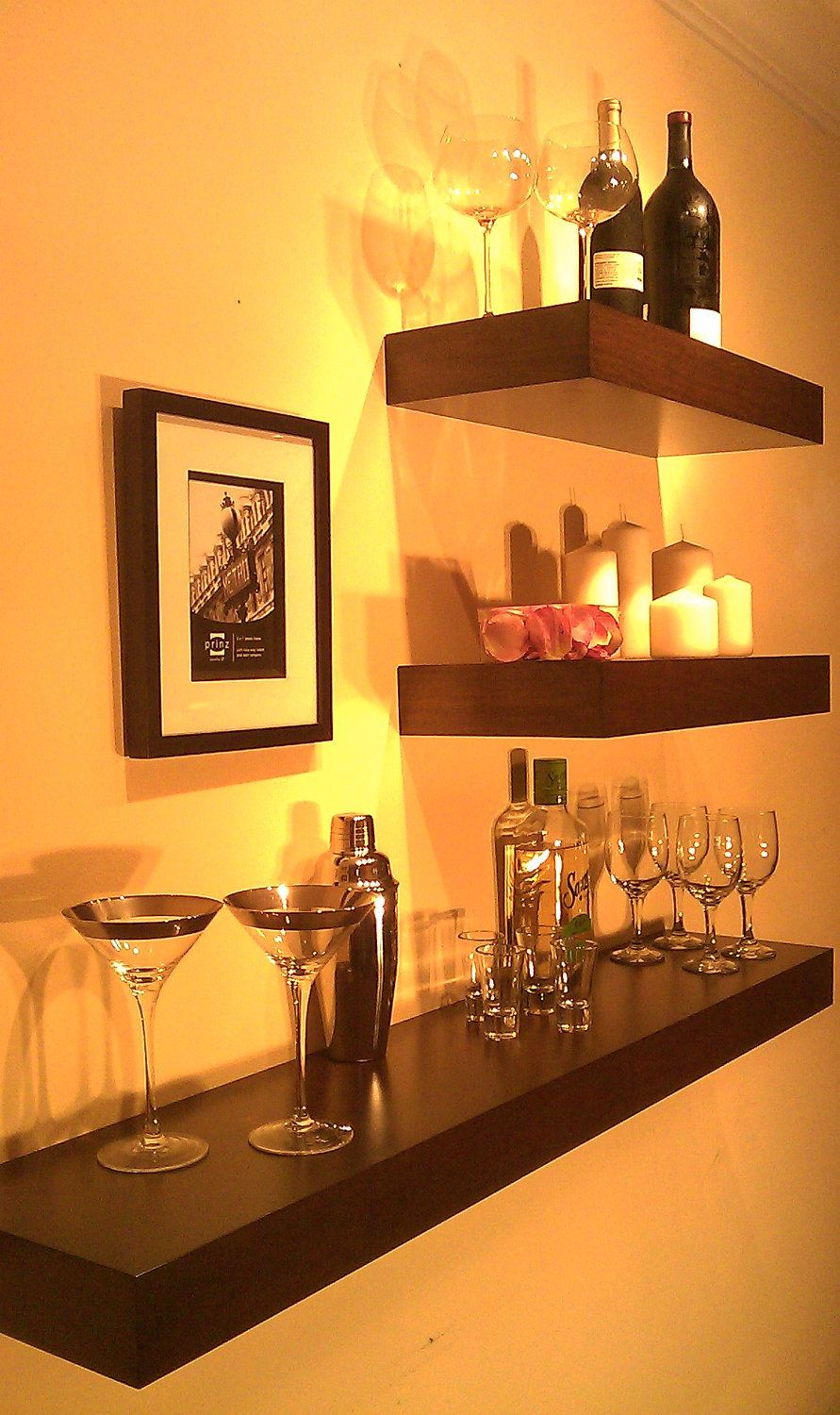 awesome idea for bar saw shelves like these bath floating glass beyond also clears space cabinets where all the glasses are now towel rod with shelf average closet height ikea