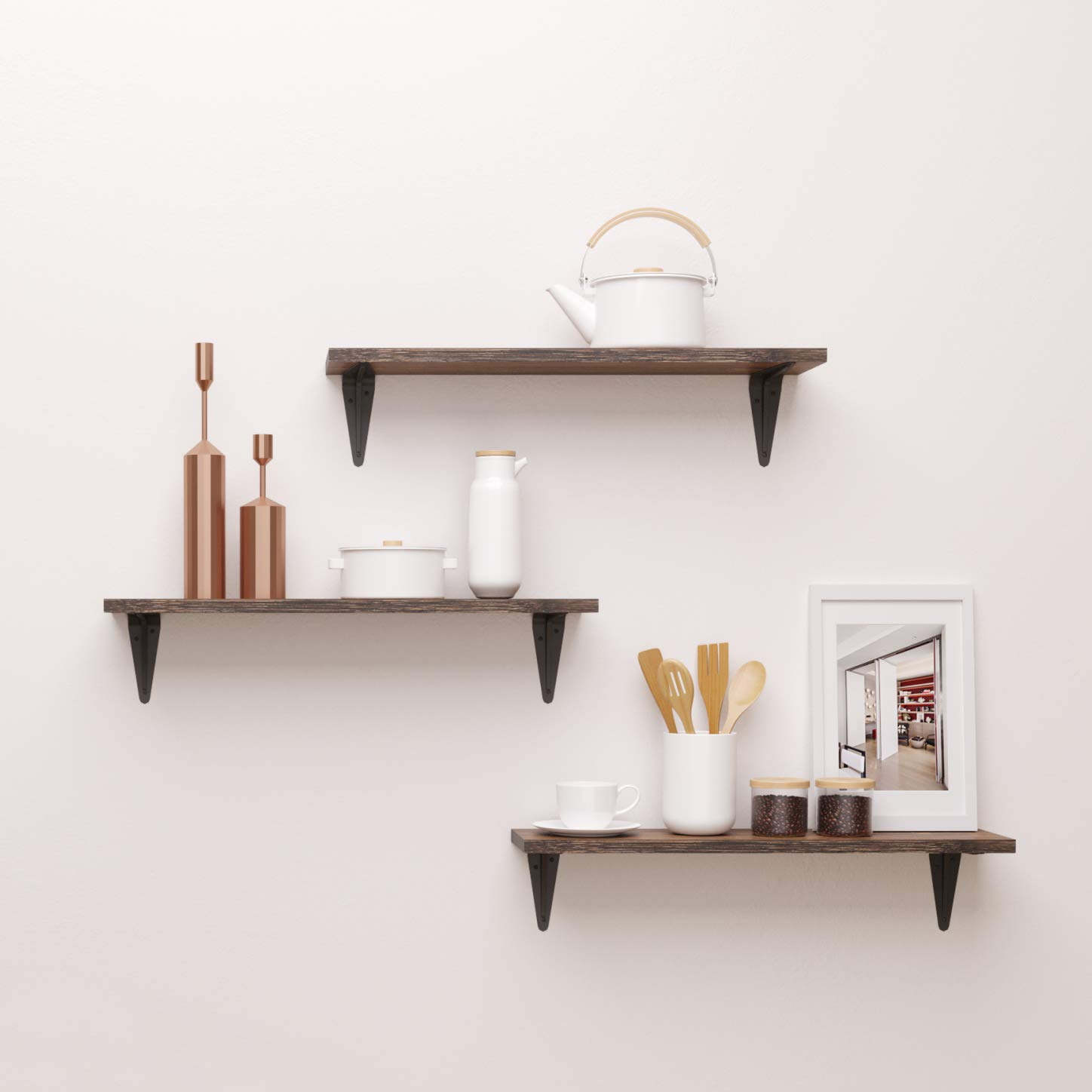 bamfox floating shelves wall shelf set mounted large with storage for bedroom bathroom living room kitchen office home foldable desks small spaces prepac desk wood bracket glass