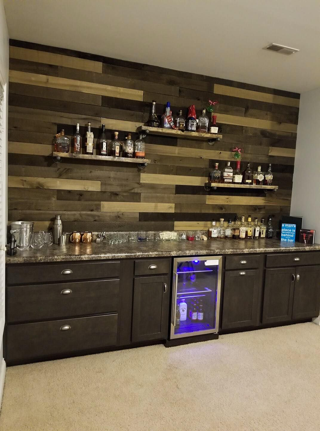 basement bar shiplap floating shelves home bars for ikea leksvik bedside table inch corner shelf low profile instead upper cabinets open kitchen cabinet wooden island bookcase