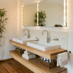 bathroom design idea open shelf below the countertop floating wood ideas dual sinks sit above charles sofa home garage shelving shallow wall shelves tempered glass standard size 150x150