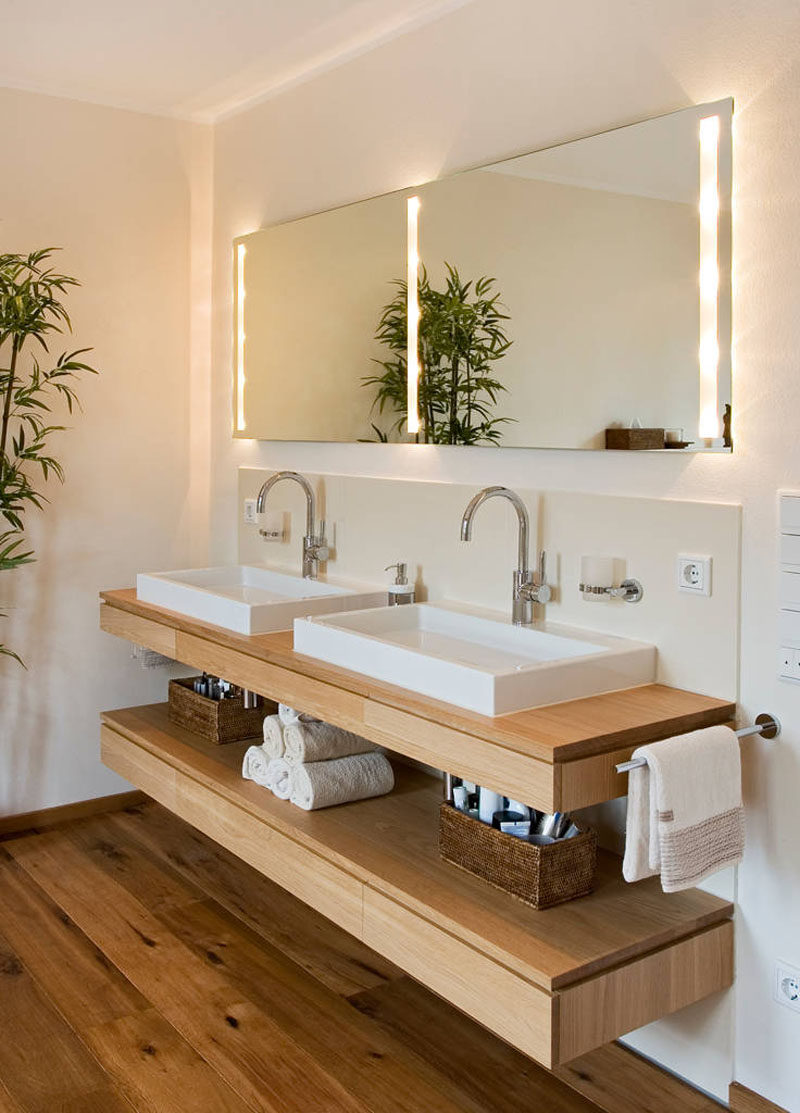 bathroom design idea open shelf below the countertop shelving floating sink dual sinks sit above that just right height various lotions potions and creams well stack towels sky
