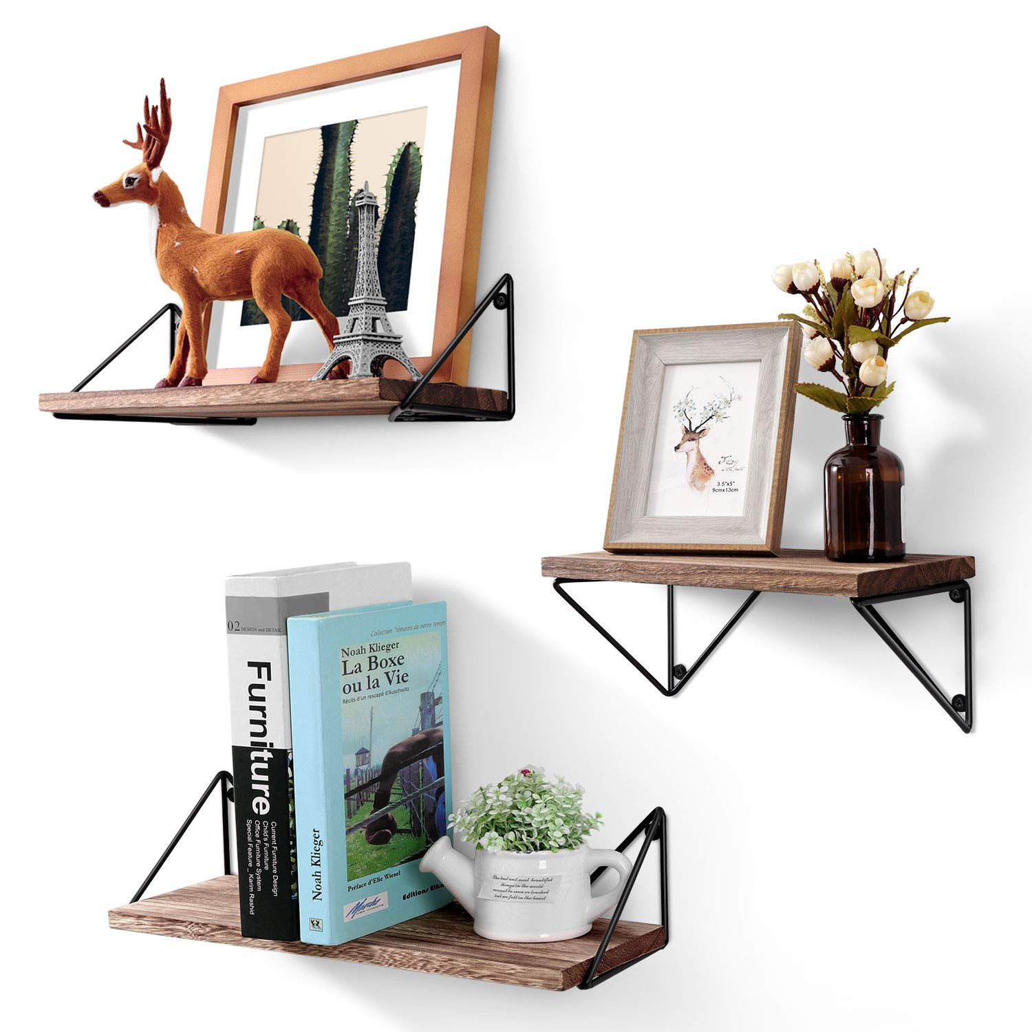 bayka floating shelves wall mounted set rustic wood for bathroom living room bedroom home kitchen small glass shelf canadian tire magic bag oak unit ornamental brackets metal