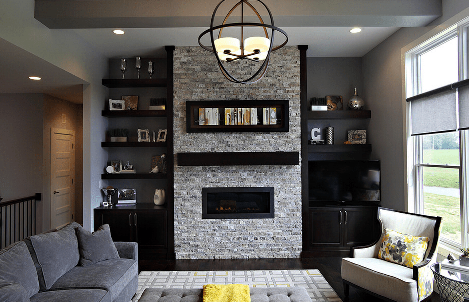 beautiful living rooms with built shelving modern room black ins state street interiors floating shelves flanking fireplace entryway coat rack and storage bench wall ledge shelf