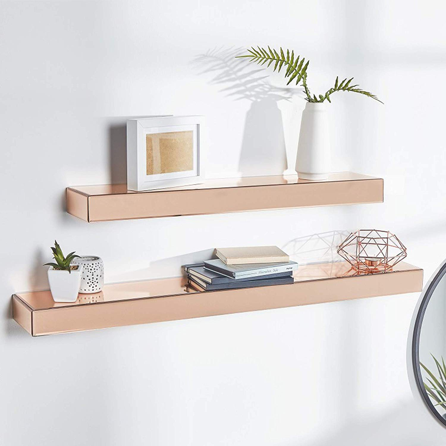 beautify set rose gold mirrored glass shelves floating wall shelf display ledges storage for bedroom living and hallway hardware entryway bench free organizing with command hooks