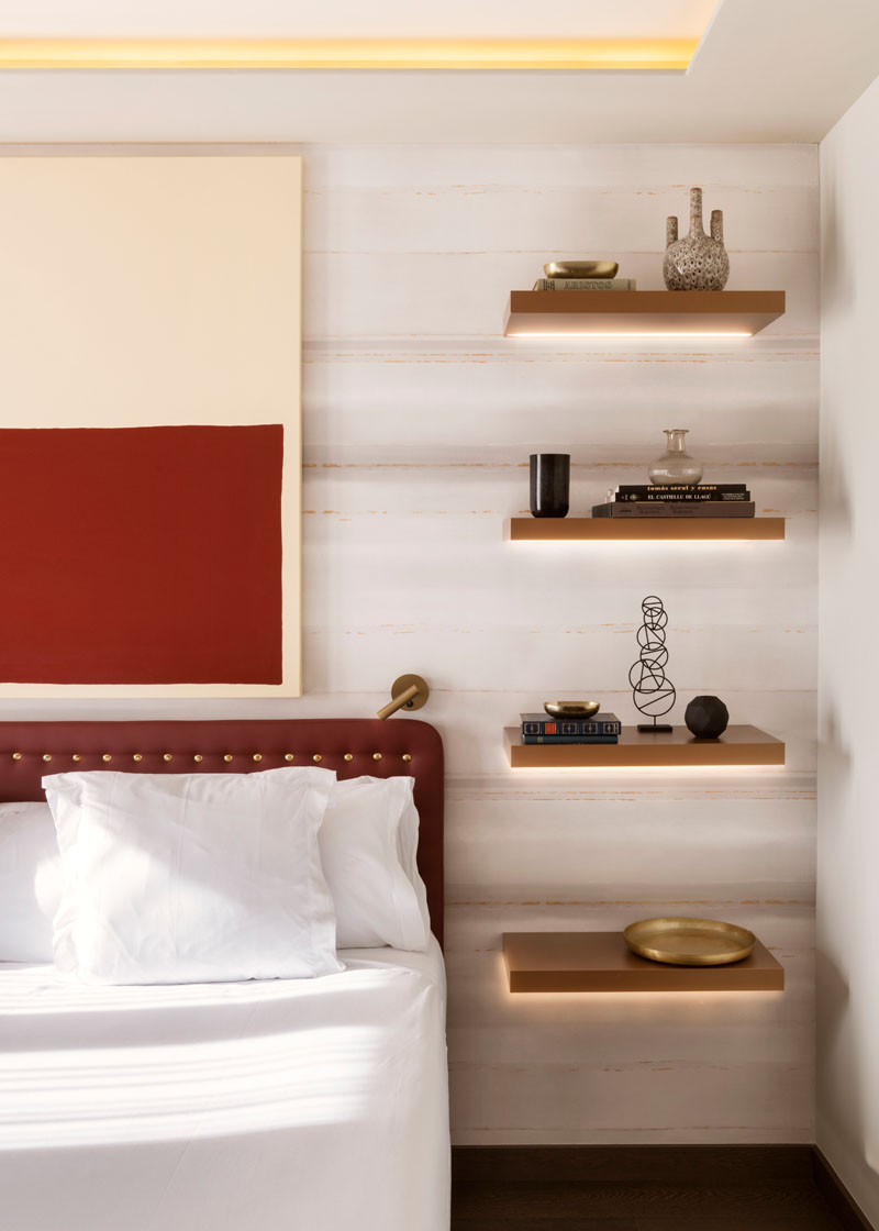 bedside table shelving bedroom design contemporist floating shelves idea replace and lamp with hidden lighting kitchen utility small depth black dvd wall shelf building bookshelf