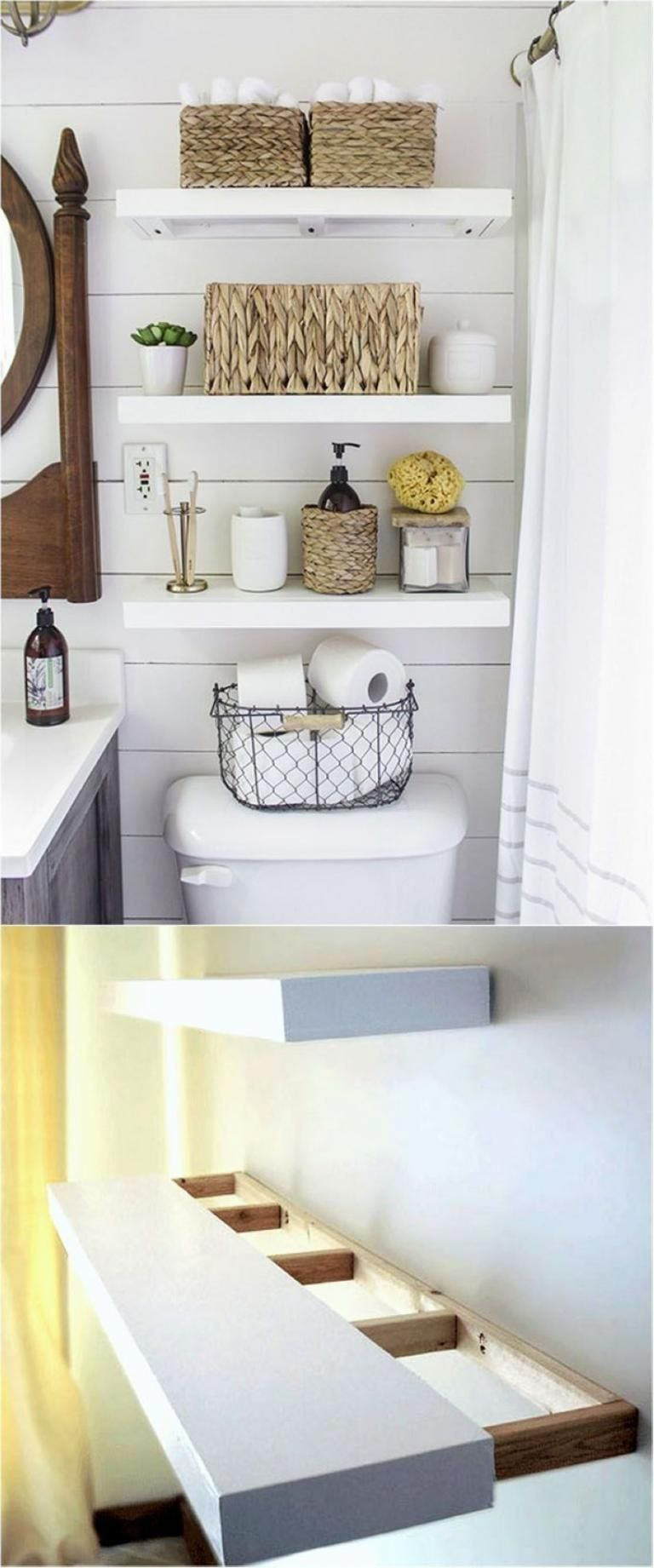 best diy floating shelves and bathroom ideas bathrooms double basin sink chunky reclaimed wood closet factory small storage shelf unit garage white wall with pegs lime green ikea