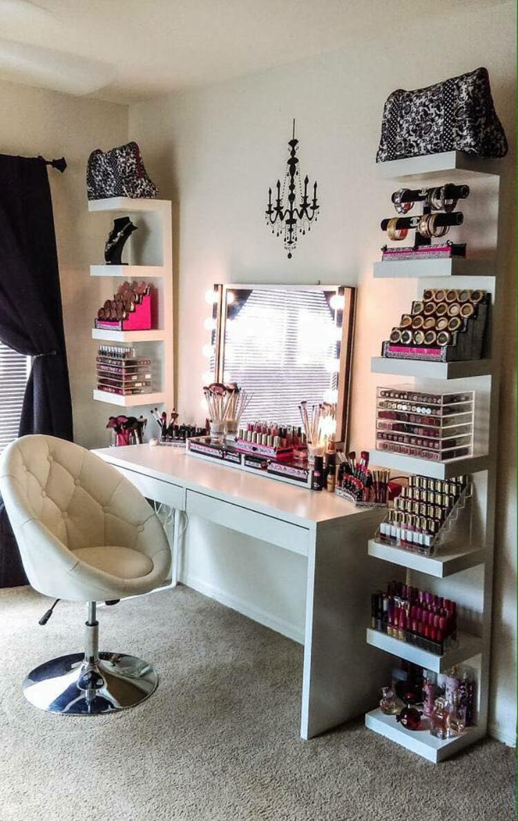 best makeup vanity ideas and designs for homebnc floating shelves modern glam storage garage shelving bracket shelf side table television stand coat with shoe rack wood fireplace