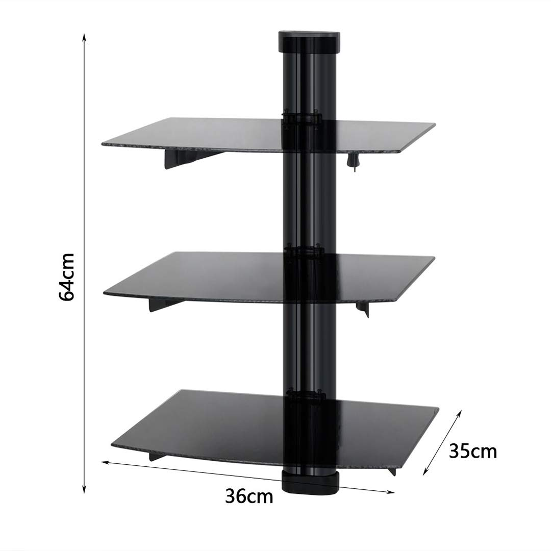 bestvalue floating wall mounted shelf tier glass mount with strengthened tempered glasses for dvd players cable boxes accessories garage shelving wood mantel simple shoe rack