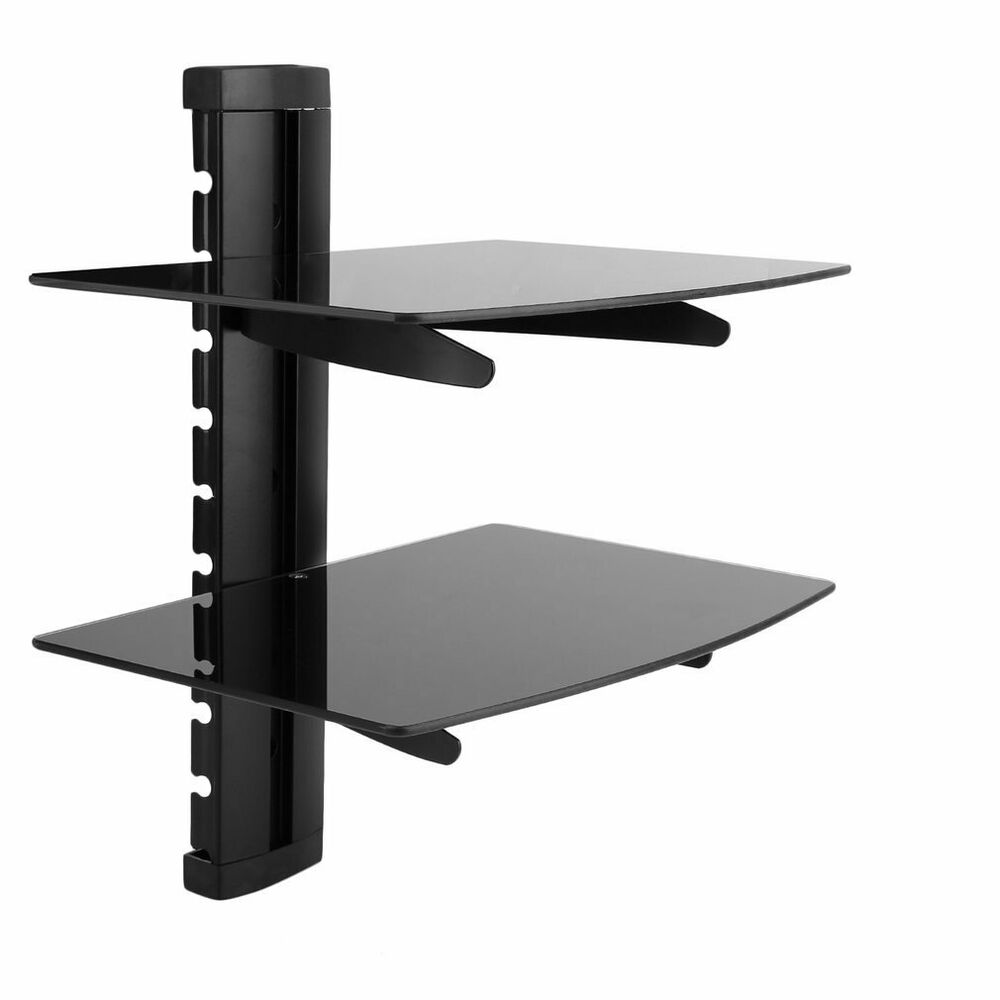 black floating glass shelves shelf for dvd sky box xbox wall details about mounted laying vinyl floor tiles over existing shelving units ikea with built light pre made wood