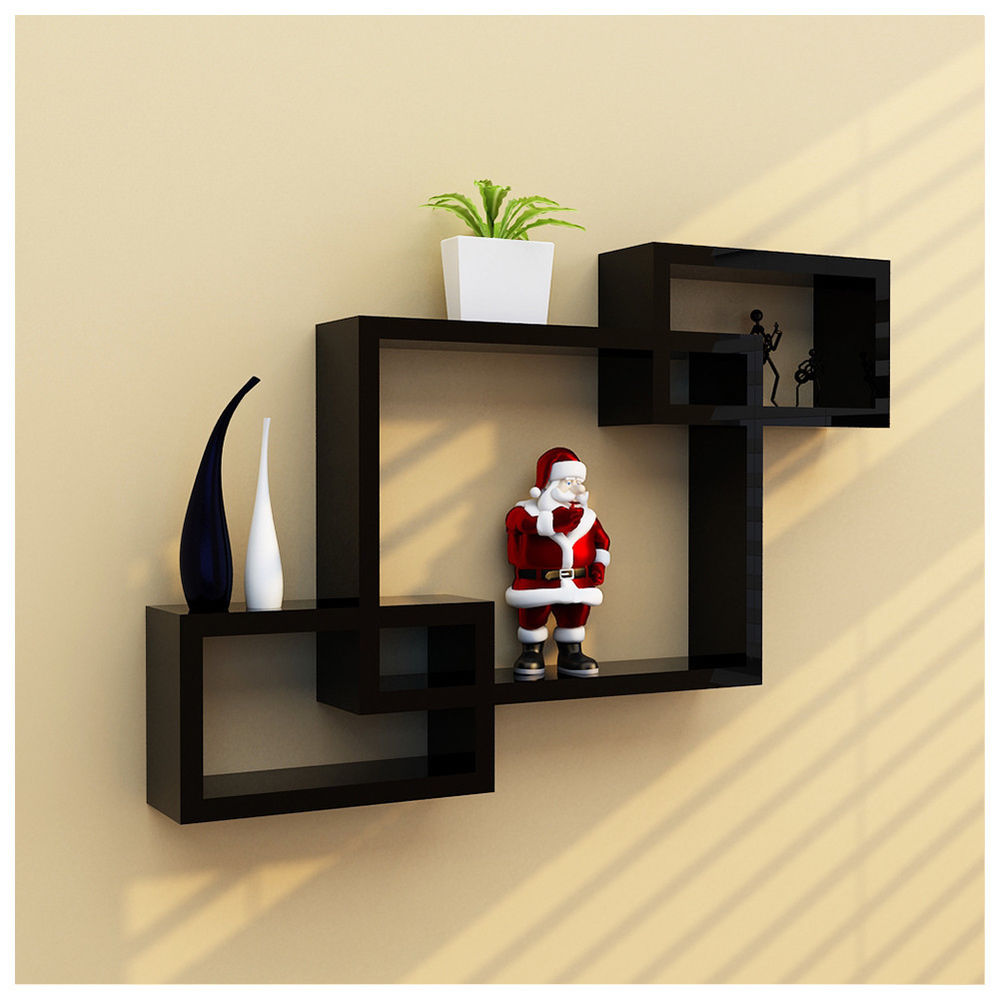 black intersecting square floating shelf wall mounted home box shelves details about furniture decor rng desk with walls microwave island cabinet closet rod depth solid wood