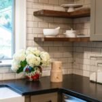 black kitchen countertops crisply contrast white subway tile floating corner shelves backsplash for look that fresh and simple wood bring softer bathroom organizer stand reclaimed 150x150