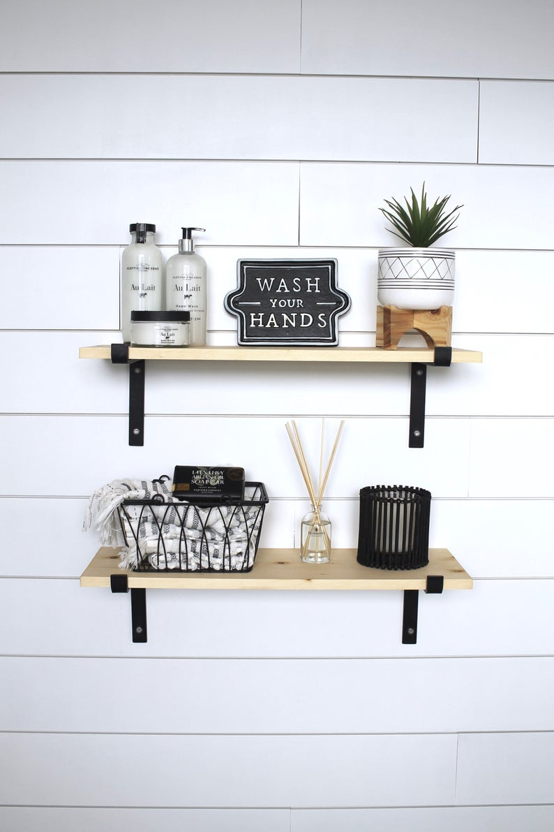black metal bracket shelves floating open shelving etsy shelf box cream corner bookcase unit wall clear kitchen closet racks pottery barn bookshelf mounted storage cube victorian