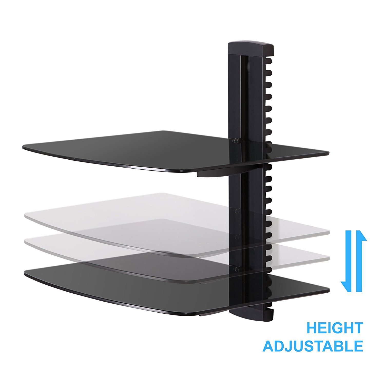 black tier adjustable wall mount glass floating dvd component bracket stand shelf fitueyes tempered tiers shelves for players blu ray receiver garage cupboards systems homebase