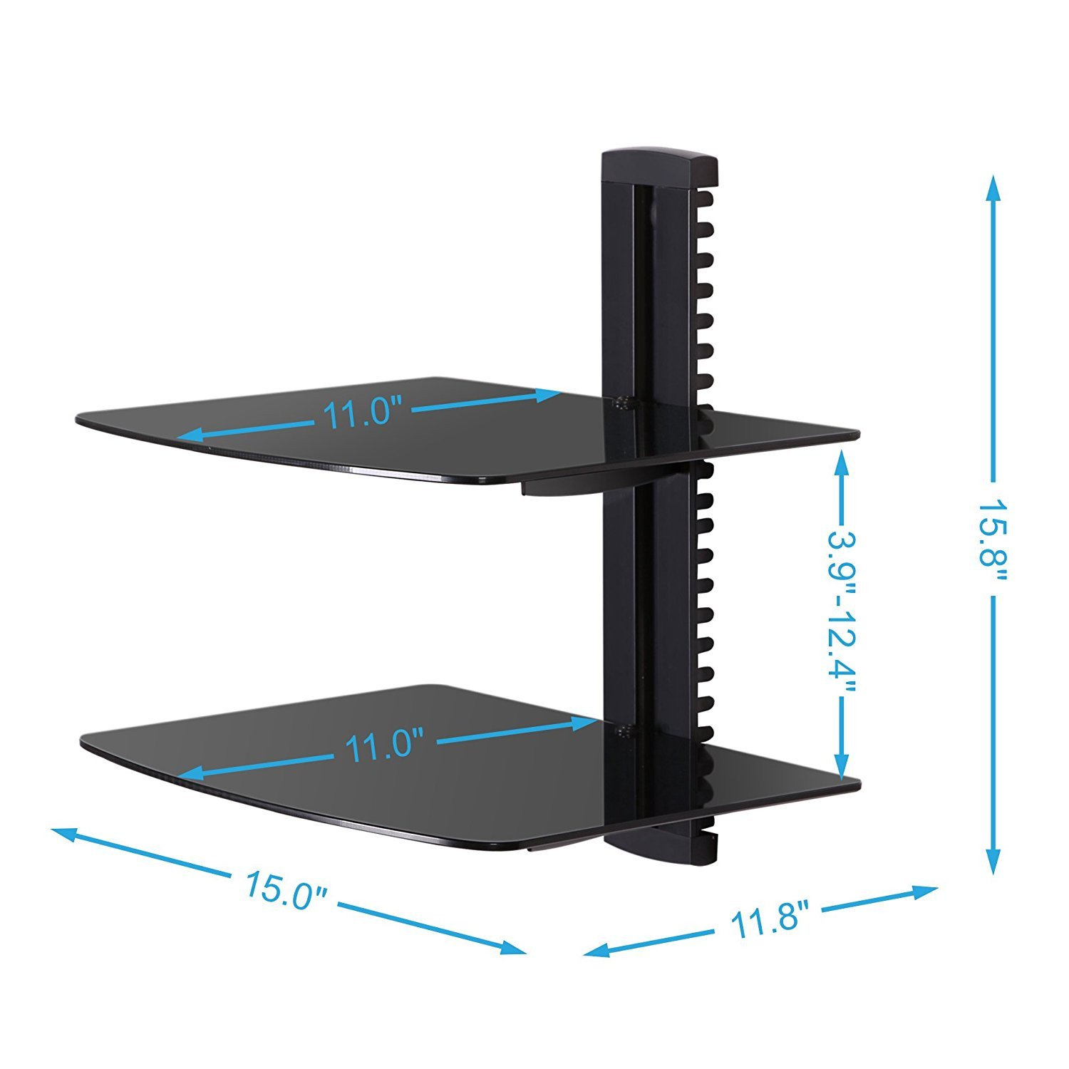 black tier adjustable wall mount glass floating dvd component shelf fitueyes tempered tiers shelves bracket stand for players blu ray receiver player shallow storage bunnings