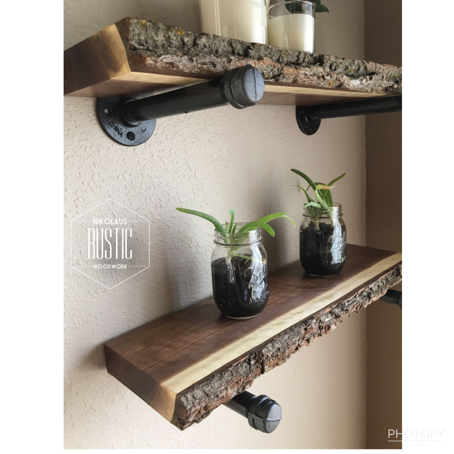 black walnut live edge shelves from nikolausrusticwoodwork pipe floating with gas base small glass shelf wall towel storage racks kitchen counter corbels hung dressing table