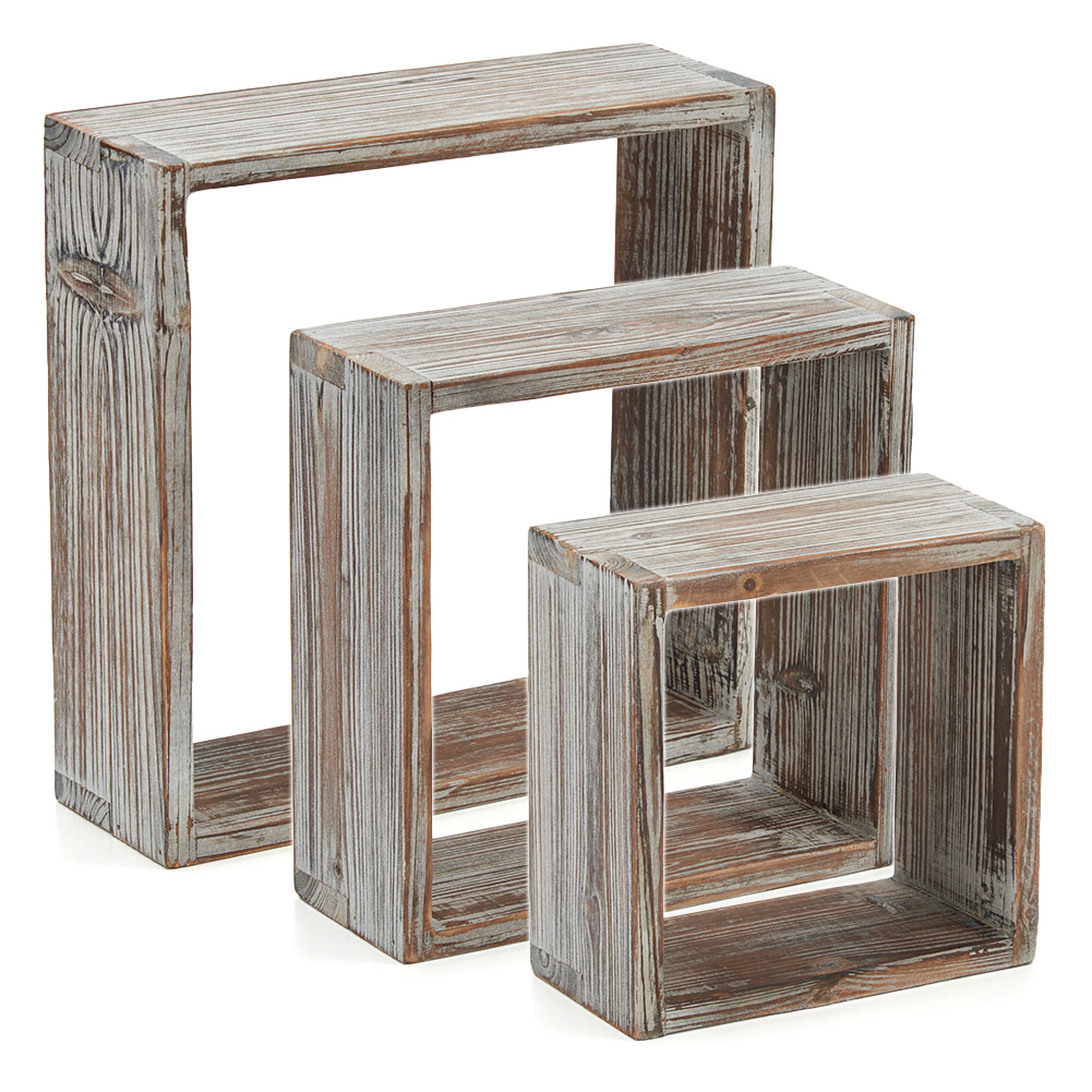 bluemall floating shelves ezoware set rustic torched wood storage cube shelf square wall decorative display timber ikea open shelving for kitchen best fireplace mantels entryway