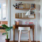 bookshelf above desk storage idea decor small home offices floating shelf over dark wood bookcase diy full wall shelves ornate wooden wrought iron brackets decorative for living 150x150