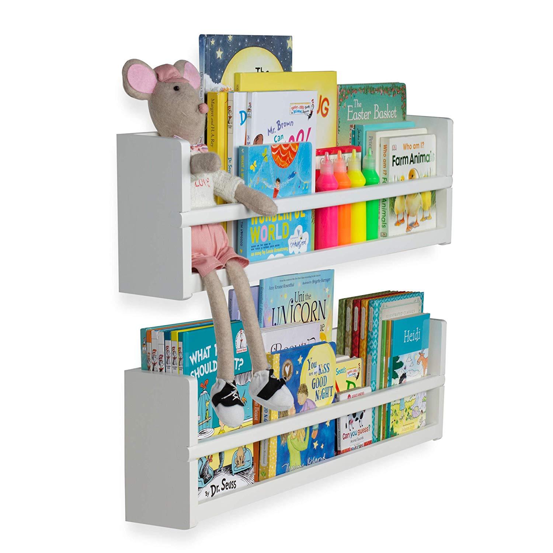 brightmaison nursery decor wall shelves shelf set floating bookshelves wood for baby kids room book organizer storage ledge display holder vertical pull out shoe rack antique