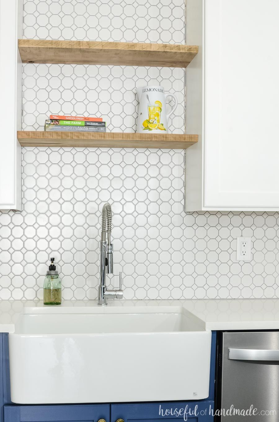 budget farmhouse kitchen remodel reveal almost laundry room floating shelves above sink thick maple boards were turned into the white octagon tile perfect backsplash fill space