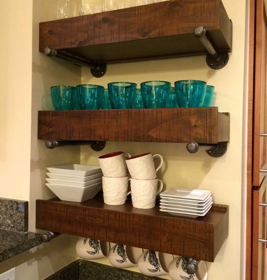 check out this awesome from happy customer they used our pottery barn floating shelf brackets straight industrial pipe along with their shelves don look great together granite