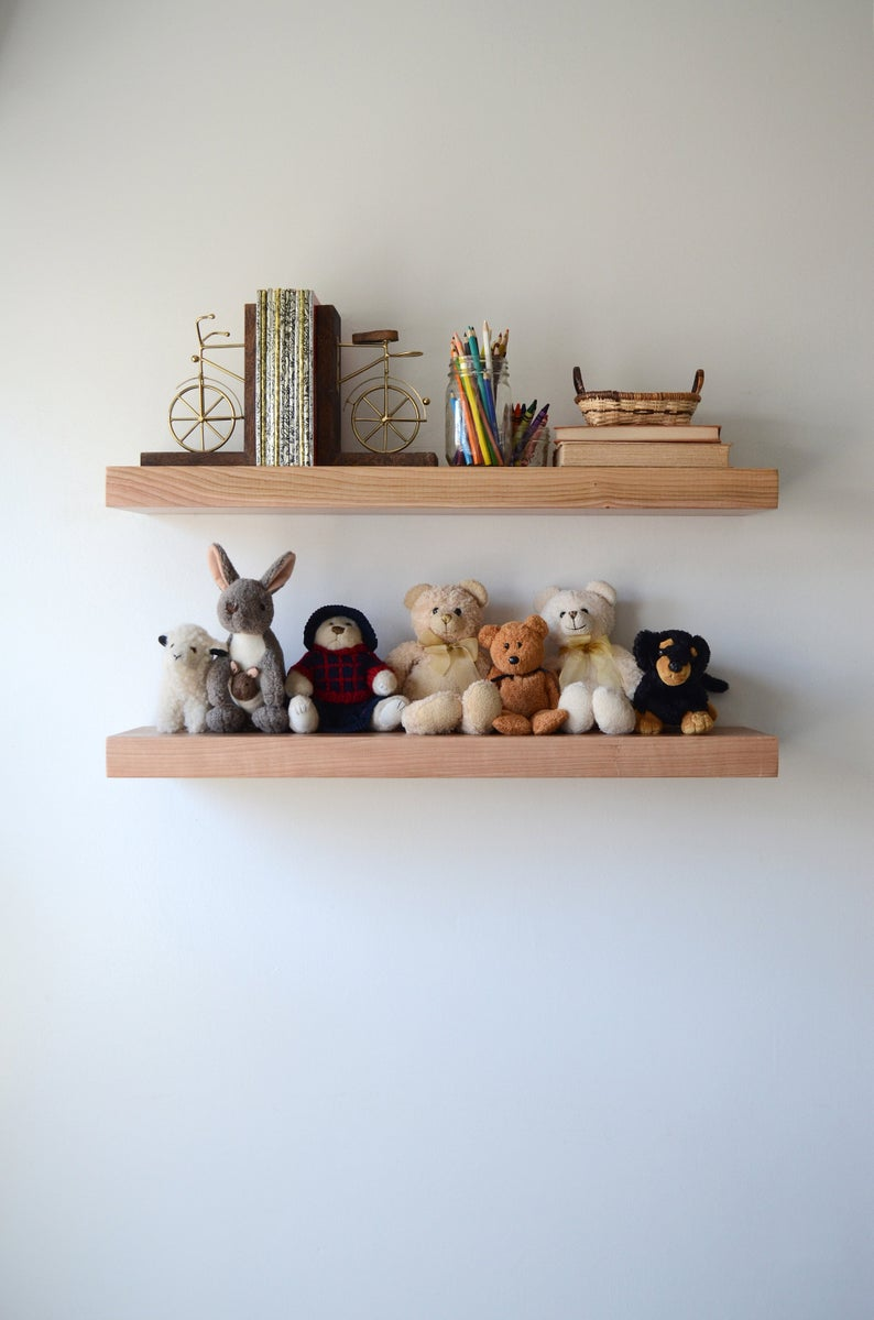 cherry floating shelf wooden kitchen etsy shelves finish cookbook wall shelving ideas for sitting room hanging heavy objects drywall without studs corner desk and bookshelf