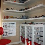 clay lego corner creation station made using ikea shelves and floating for display drawers laminated labels stuck them the with glue dots white shoe storage will command hooks 150x150